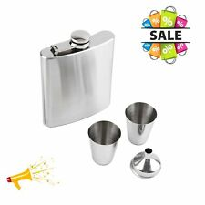 7oz Stainless Steel Hip Flask Funnel Cups Set Drink Bottle Gift New Gift afw