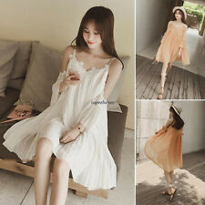Sexy Womens Girl Chiffon Spaghetti Strap Off Shoulder Loose Pleated Bubble Dress