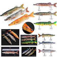 8/12 Sections Multi Jointed 3D Eyes Fishing Lures Swimbait Bass Crankbait Tackle