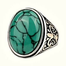 MEN'S WESTERN VINTAGE TURQUOISE RING- LARGE OVAL GEMSTONE- SILVER PLATED- 7-10