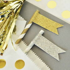 24 Glitter Flag Labels Gold Silver Bridal Shower Wedding Party Decorations