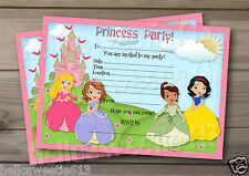 1-10 PRINCESS / PRINCESSES CHILD BIRTHDAY PARTY INVITATIONS OR THANK YOU CARDS