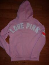 "VICTORIAS SECRET PINK APPLIQUE ""PINK"" FULL ZIP HOODIE NWT"