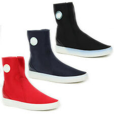 WOMENS LADIES HI TOP CHUNKY SOLE ELASTIC CANVAS PUMPS TRAINERS SHOES SIZE 3-8