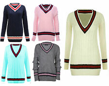 New Women Cable Knitted Long Sleeve Baggy Cricket Jumper V Neck Pullover Sweater