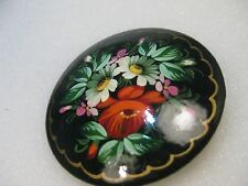 "Vintage Russian Floral Painted Black Lacquered Round Brooch, 2"", signed"
