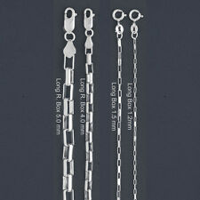 ITALY Sterling Silver LONG BOX Chain Necklace/Bracelet-ROUND-LONG BOX Chain
