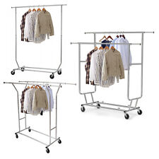 New Heavy Duty Commercial Clothing Garment Rolling Collapsible Rack Chrome New
