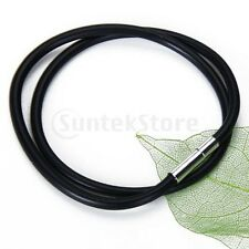 """3mm Black Rubber Cord Choker Chain Necklace Stainless 14"""" 16"""" 18"""" 22"""" 24"""" etc"""