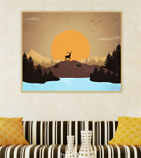 "HD Print on Canvas Painting Home Decoration Wall Art Elk sunset scenery""60x75cm"""