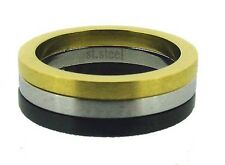 Gold, Silver and Black Brushed Finish Stainless Steel Ring 7 - 12
