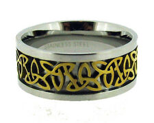 Stainless Steel Celtic Ring Gold Tone Woven Center Size 6 7 8 9 10 11 12 13