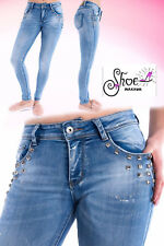 NEW WOMENS LADIES SILVER STUD POCKETS SKINNY JEANS STRETCH DENIM SLIM FIT 6-14