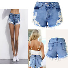 Women Girls Sexy Causal Summer Tassel LACE Decor Denim Hot Pants Jeans Shorts