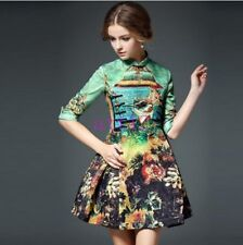Womens Embroider Short Dresses New Casual Chinese Knit Silk 3/4 Sleeves Dress