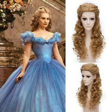 New Princess Cinderella Wig Long Brown Synthetic Wavy Cosplay Wig Party Cosplay