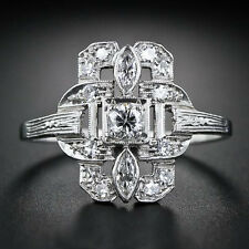 Women Men Jewelry 925 Silver White Topaz Wedding Engagement Party Ring Size 6-9