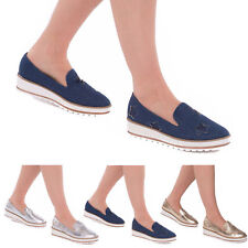 Womens Ladies Branded  Star Creepers Thick Sole Slip On Trainers Sneakers Shoes