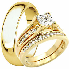His Hers 14K Gold Plated Engagement CZ Ring Matching Wedding Band Set Men Women