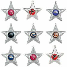 NFL TEAMS SILVER STAR CHRISTMAS HOLIDAY ORNAMENT - PICK YOUR TEAM