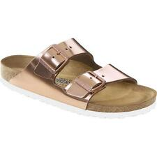 Birkenstock Arizona Metallic Copper Leather Flat Sandals