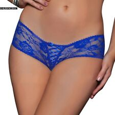 Women Sexy Lingerie Floral Hollow Lace G-string Open Crotch Briefs Panties B0N02