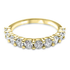 14K Yellow Gold 10 stone Forever One Moissanite Anniversary Band ring 1.0 CTW