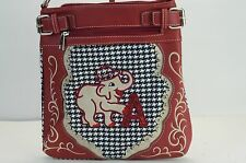 WOMENS ALABAMA BAMA ROLL TIDE CROSS BODY PURSE ELEPHANT HOUNDSTOOTH PRINT
