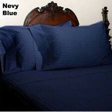 Quality 1000TC Egyptian Cotton Complete Bedding Sets UK Sizes Navy Blue Striped