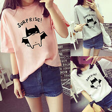 Women's Bat Printed Loose Summer T-Shirt Short Sleeve Blouse Tops Tee Happy