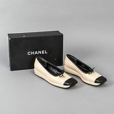 CHANEL Wedge Heel Leather Loafers Women's 38.5 Black & Beige Square Toe US 8.5M