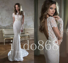 Long Sleeves 2017 New Style Wedding Dress Mermaid Lace  Bridal Gowns Custom Size