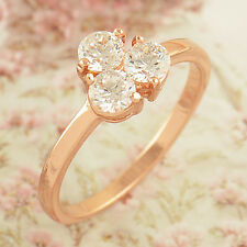 Wedding Womens Girls  Rose Gold Filled Clear Zircon Lucky Love Ring,Size 6 7