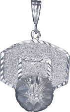 Sterling Silver Basketball Backboard Charm Pendant Necklace Diamond Cut Finish
