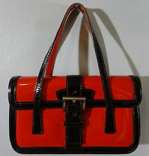AUTHENTIC PRADA RED & BLACK PATENT LEATHER BAGUETTE CLUTCH HANDBAG~WITH DUSTBAG!