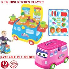 New Kids Mini Bus Kitchen Toy Play House Cooking Toy Pans Pots Utensils Cookware