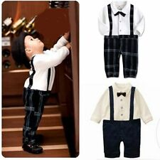 Baby Boy Wedding Christening Tuxedo Formal Suit Outfit Romper Clothes 3M-3T