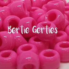 *3 FOR 2* PINK OPAQUE PONY BEADS - 9 x 6mm - Plastic Barrel - FAST POST
