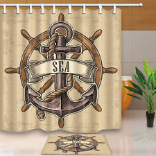 Anchor&Rudder Bathroom Decor Waterproof Fabric Shower Curtain Liner Doormat Rug
