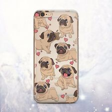 Cute Pug Puppy Dog Soft Silicone TPU Rubber Case Cover Back iPhone 6s 7 Plus