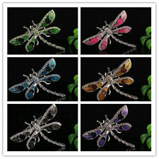 BEAUTIFUL WOMENS CRYSTAL RHINESTONE DRAGONFLY BROOCH,IN 5 COLOURS AVAILABLE