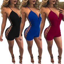Sexy Women Spaghetti Strap Hollow Out Deep-V Bandage Club Shorts Romper Jumpsuit