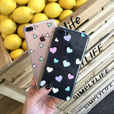 Transparent TPU Soft Love Heart Phone Back Case Cover For iPhone 6 6s 7 plus