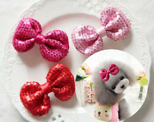 1PCS Pet Dog Hair Clips bling sequins bows Hairpins Grooming Bowknot accessories