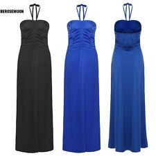Meaneor Sexy Women Halter/ Strapless Empire Waist Solid Long Maxi Evening B0N02