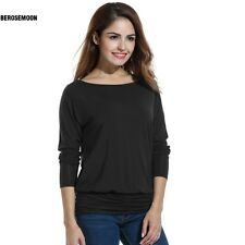 Women Casual Boat Neck Batwing Sleeve Solid Draped Blouse Dolman Top B0N02