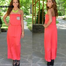 New Women Sexy Strapless Sleeveless Casual Party Long Dress B0N01