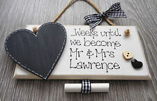 Personalised Wedding Countdown Chalkboard Plaque Sign Engagement Mr and Mrs GIN