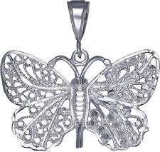 Sterling Silver Butterfly Charm Pendant Necklace Diamond Cut Finish with Chain