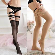 Elastic Hollow Sexy Thigh High Stockings Rivet Mesh Lace Tops
